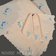 SALE Vintage Madeira Floral Applique Placemat Set for 6 - Mats, Napkins, Runners, 13 pc
