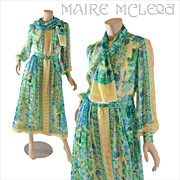 Vintage 1970's Floral Silk Chiffon Dress  S / M
