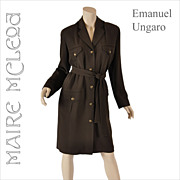 Vintage Emanuel Ungaro Knit Shirtwaist Dress - M / L