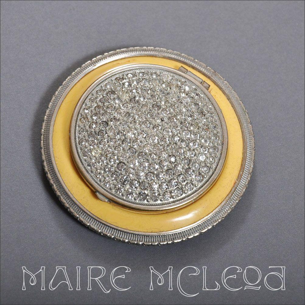 Rare F.J. Munster Deco 1930's Compact - Rhinestones, Enamel
