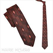 "SALE 1950's Black & Coral Brocade Skinny Tie  2-1/2"""