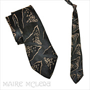 "SALE 1940's Black & Ivory Silk Brocade Men's Tie 3"""