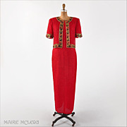 Vintage Beaded Silk Long Evening Gown, Red - Laurence Kazar