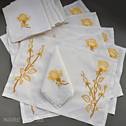 SOLD Yellow Roses - Embroidered Vintage Linen 6 Placemats /  Napkins - Red Tag Sale Item