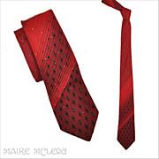 """SALE 1950's Red Ombre Brocade Men's Tie - Wembley 2-1/2"""""""
