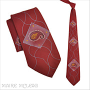 """1940's Men's Tie - The Montparnasse Individually Hand Painted   3-1/2"""""""