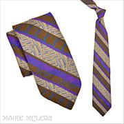 Vintage Superba Lavender Brocade Men's Tie - 1950's