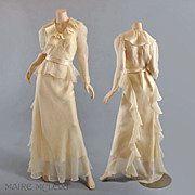 Ethereal 1930's Ivory Silk Organza Gown w / Slip - Grt for Bridal
