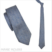 SALE 1950's Bronzini Silk Mens Tie, Blue   2-1/2""