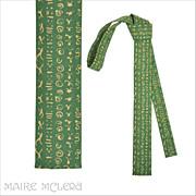 """SALE 1960's Flat Bottom Skinny Tie, Apple Green  - Hieroglyph's  1-1/2"""""""