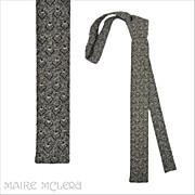 "SALE 1960's Flat Bottom Skinny Tie, Black/White Weave 1-1/2"""