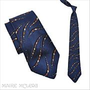 "SALE 1940's Tie // Vintage 40s Navy Abstract Brocade Tie 3-1/2"""