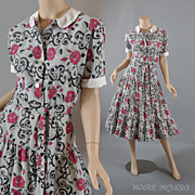Vintage New Look 1950's Day Dress - Flounced Skirt - S
