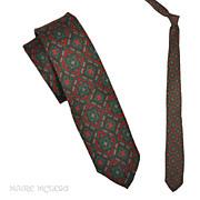"SALE Vintage 50s - 60s  Silk Quatrefoil Skinny Necktie   2-1/4"""