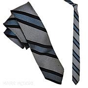 """SALE 1950s Silvery Gray / Blue Weave Men's Stripe Tie  2"""""""