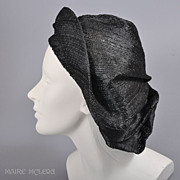 SOLD 1940s Poet Slouch Beret-Oversized, Black Straw