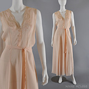 SOLD Vintage 40s Silk Nightgown - Embroidery, Lace  - L