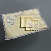 SOLD Vintage Madeira Embroidered  Iris Breakfast Set - Perfection