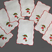 SALE FINEST Vintage Holiday Snowman Applique, Embroidered Cocktail Napkins