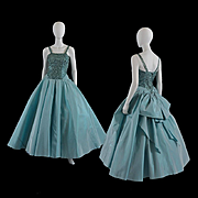 Vintage Iridescent Taffeta 1950s Will Steinman Evening Gown - S / M