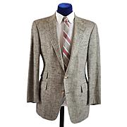 Vintage Polo Hacking Jacket Coat - Raw Silk Herringbone  40