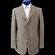 Vintage 60s-70s Men's Checked Harris Tweed Sport Coat Jacket  41-42