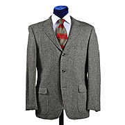 Vintage 50s Black Tweed 3 Button Sport Coat - 41