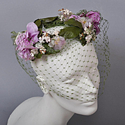 Vintage 50s Floral Hat Wreath - Green Net, Lavender Blossoms