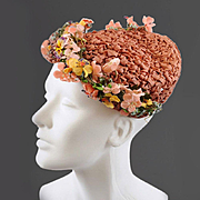 Vintage Woven Ribbon, Flowers, Sequins 1950s Hat