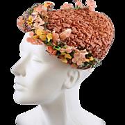 Vintage Woven Ribbon, Flowers, Sequins 1950s Hat