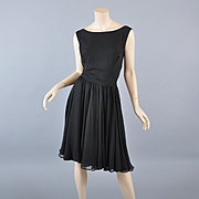 Black Silk Chiffon 50s-60s Cocktail Dress /Fay Hoosin  Lg