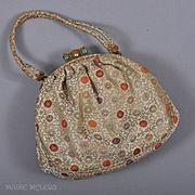 c 1950s Silk Brocade Evening Bag, Jade Clasp - Edbar, Hnd Md