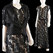 Black Lace Vintage 1930's Long Gown / Jacket  - M