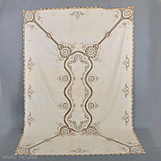Vintage c 1930 Tablecloth - Hnd Made Lace, Embroidery