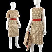 Vintage 50s-60s Sheath Dress w / Bolero Jacket - S