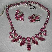 Eisenberg Ice Pink & Clear Rhinestone Necklace & Earring Set