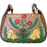 Vintage handmade 1960s tooled leather hippie purse with butterflies flowers and painted mushro