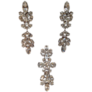 SALE Givenchy Bridal Rhinestone Brooch and clip on earrings