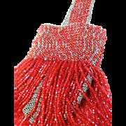 1920s Excellent Condition Bright Orange Crochet coin purse