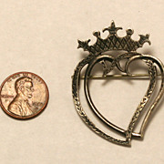 SALE Vintage Sterling Silver Iona Scottish Luckenbooth heart wedding pin