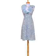 Vintage 1960s Anne Fogarty Light Blue Silk and Cotton Embroidered Organza Party Dress