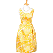 Vintage 1960s Sunny Yellow Floral Sleeveless Silk Faille Dress