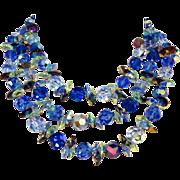 SALE Vintage Three strand Blue Crystal Vendome Necklace