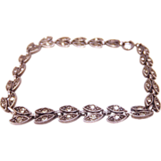SALE Wells Sterling Silver Art Deco Rhinestone leaf bracelet