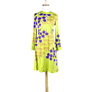Vintage 1960s Hanae Mori for Saks 5th Ave. Bright Green Floral jersey Dress