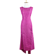 Vintage 1960s Adele Simpson Fuchsia Brocade Vintage Evening Gown