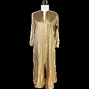 SALE 1970s Vintage Gold Metallic Halston IV Dress or Caftan