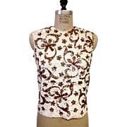 SALE Vintage white and brown sequin 100% wool Valentina lined top