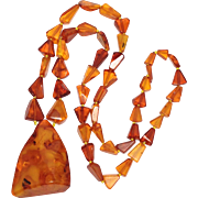 SALE Amber necklace with HUGE center pendent
