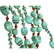 Art deco 1920s Egyptian revival scarab beetle glass bead necklace 35 inches long